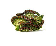 Beaded cuff bracelet Freeform peyote cuff Olive Green by ibics,