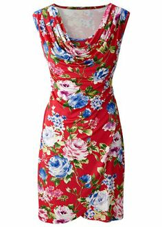 Floral print cowl dress