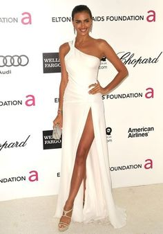 Inspired by Irina Shayk Ivory A Line Chiffon Celebrity Dresses Sexy One Shoulder Side Slit Prom Dresses Evening Formal Gowns from bettybridal Oscar Dresses, Sexy Dresses, Girls Dresses, Prom Dresses, Wedding Dresses, Formal Evening Dresses, Formal Gowns, Strapless Dress Formal, One Shoulder Prom Dress