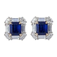 Emerald Cut Sapphire and Diamond Earrings ❤ liked on Polyvore featuring jewelry, earrings, earring jewelry, diamond earring jewelry, sapphire jewelry, diamond jewelry and 18 karat gold jewelry