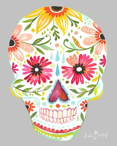 """Sugar Skull"" print~Image/design © Katie Daisy via her Etsy shop The Wheatfield Los Muertos Tattoo, Catrina Tattoo, Daisy Art, Day Of The Dead Skull, Day Of The Dead Artwork, Watercolor Walls, Tattoo Watercolor, Watercolors, Acrylic Artwork"