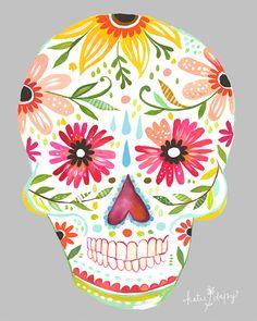 Sugar Skull 8x10 8x10 print by thewheatfield on Etsy, $18.00