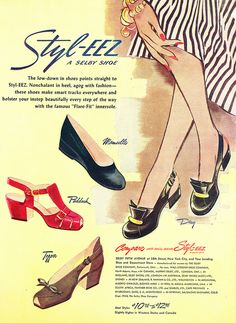 Lovely red, black and brown shoes from Styl-eez, 1948.