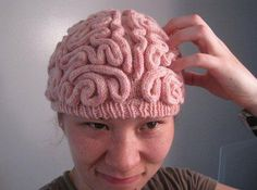 the brain: knitted. I am so making this for Lucy when it gets cold in MI.
