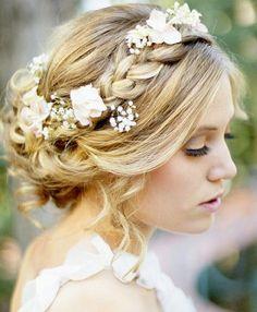 Coiffure mariage : {Bridal Hair} 25 Wedding Upstyles and Updos Romantic Wedding Hair, Wedding Hair And Makeup, Hair Makeup, Hair Wedding, Wedding Braids, Wedding Flowers, Wedding Colors, Trendy Wedding, Perfect Wedding