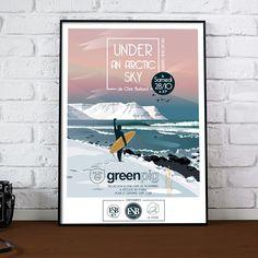 Under An Arctic Sky... film de surf réalisé par le grand Chris Burkard. Collaboration pour la projection du film à Quiberon. #surf #surfing #burkard #surfmovie #illustration #affiche #cinema Arctic, Collaboration, Surfing, Sky, Mood, Crafty, Deco, Film, Illustration