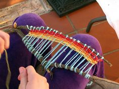 """Nature elements and weaving.. I thought this would be good for a camping craft.  Bring some plastic large yarn needles and variety of yarn.  Kids can find their own """"V"""" sticks."""