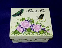 Hand Painted Wedding Box Roses Wood Wedding by EssenceOfTheSouth, $93.50