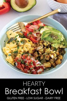 A healthy gluten free and dairy free breakfast bowl full of fluffy scrambled eggs roasted potatoes avocado and two different kinds of salsa athousandcrumbs breakfast healthybreakfast glutenfreebreakfast dairyfree healthyeating # Healthy Breakfast Meal Prep, Healthy Breakfast Casserole, Breakfast Bowls, Healthy Breakfast Potatoes, Breakfast Ideas With Eggs, Power Breakfast, Apple Breakfast, Avocado Breakfast, Mexican Breakfast