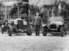 WO Bentley standing between two of his cars. During the late 1920s Bentley achieved a set of record race wins that was not equalled until the 1950s by Jaguar and not beaten until the 1960s by Ferrari.