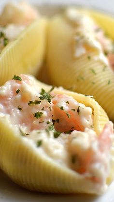 great idea to spruce up manicotti by adding some lobster or crab (: Creamy Seafood Stuffed Shells Recipe. great idea to spruce up manicotti by adding some lobster or crab (: Seafood Pasta, Seafood Dinner, Seafood Appetizers, Shells Seafood, Seafood Bake, Italian Appetizers, Best Seafood Recipes, Fish Recipes, Seafood Stuffed Shells Recipe