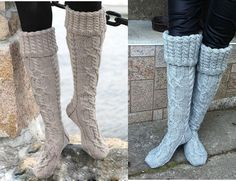 Knitted knee-length socks (Free Pattern) | www.ladylifehacks.com