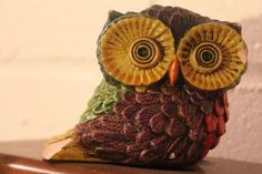 REDUCED Vintage Handmade Ceramic Rainbow Owl by misterthirtysixer, $8.00