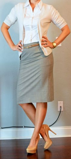 Gray pencil skirt, white button up, cream cardigan, nude shoes and belt