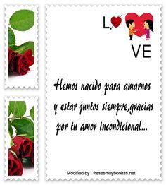 Textos de amor para mi whatsapp,palabras originales de amor para mi pareja: http://www.frasesmuybonitas.net/mensajes-para-mi-amor/