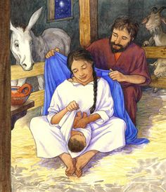 The Nativity - archival print - Holy Family - Mary, Jesus and Joseph - In the Stable - Christmas Night