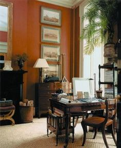Masculine British Colonial Style Home Office. Decor, Interior, Colonial, Home, Colonial House, Colonial Decor, British Colonial Decor, Interior Design, Colonial Style