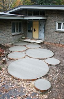 Giant round cement pads.