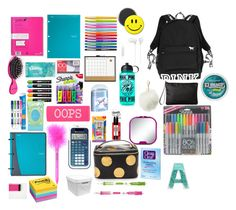 """School"" by isabellataveras on Polyvore featuring Victoria's Secret PINK, Post-It, Paper Mate, Yoobi, Sharpie, Mead, BIC, Room Essentials, U Brands and Sony"