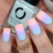Want some ideas for wedding nail polish designs? This article is a collection of our favorite nail polish designs for your special day. Pastel Nail Polish, Best Acrylic Nails, Pastel Nails, Acrylic Nail Designs, Blue Ombre Nails, Bright Summer Acrylic Nails, Ombre Nail Art, Acrylic Nails Coffin Short, Chevron Nail Art
