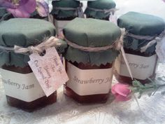 100 fabric covered 2 oz jam favors decorated with any color fabric of your choice, twine and a thank you gift tag! Anniversary Party Favors, Wedding Favors, Jam Favors, Spring Wedding, Summer Weddings, Christmas Party Favors, Wedding Order, Dinner Themes, Orange Wedding