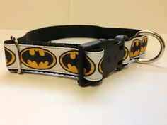 White Batman Dog Collar by SaintTiger on Etsy, $15.00