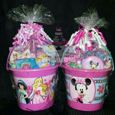 Disney Princess and Minnie mouse Easter baskets mouse Easter basket ideas Girl Gift Baskets, Themed Gift Baskets, Baby Easter Basket, Easter Gift Baskets, Minnie Mouse, Candy Bouquet Diy, Easter Traditions, Elsa, Easter Activities