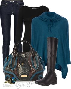 """""""Teal and Burberry"""" by orysa on Polyvore    Make the jeans bootleg (you don't want to see all this in skinny jeans) and put a heel on those boots."""