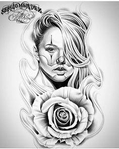 Clown girl by @tattoosbysergiomendez #mexicanstyle_art #drawing #art #arte #payasa #payasa