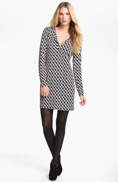 Free shipping and returns on Diane von Furstenberg 'Reina' Silk Shift Dress at Nordstrom.com. A regimented print adds optic contrast to a soft silk-jersey dress with a banded split neckline and a slight A-line shape.
