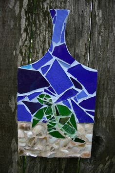 1 Sea Turtle Stained Glass Mosaic on Recycled Wooden Tray