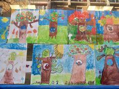 arbre en peinture animé: à l'aide d'une tirette la vie de la chouette défile. Elle pond des œufs, les couve, les petits naissent, les parents les nourrissent, puis les bébés sont grands. CP et CE1