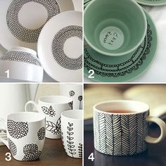 MugInspiration (Use porcelain paint pens, let air dry for 24 hours, put in oven – 35 minutes at 300°)