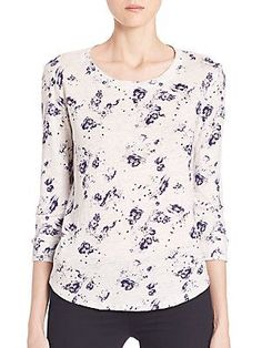 Rebecca Taylor Meteor Floral Linen Tee - White Navy - Size
