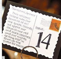 Postcard table numbers