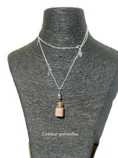 Collier fiole en verre zen : Collier par couleur-grenadine33