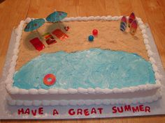 - Customer ordered this cake for end of school year for her son and his friends.  1/2 sheet yellow cake, whipped frosting.  Beach towels  letters are fruit roll ups, gummy saver life preserver, used shortbread cookies for sand, used sky blue bc for water, as I was putting on the bc on the whipped it started to mix in with the whipped which worked out great looks more like the oceans white caps.