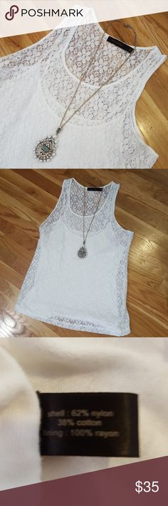 The Limited adorable lace tank top The Limited, White lace tank top with spaghetti strap liner. Great condition. The Limited Tops Tank Tops