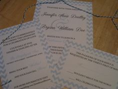 Chevron Wedding Invitation Suite WIth Bakers Twine Wrapping.