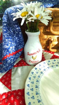 God Bless the USA - sweet red white and blue country still life