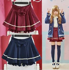 """Fashion navy bowknot skirt.  Color: purplish blue. wine red.  Fabric: cotton blended fabric.  Style: sweet, Japanese.  Size: one size.  Waistline: 56-86 cm/21.84""""-33.54"""". Length:35 cm/13.65"""". Hips: 88 ~ 128 cm/34.32""""-49.92"""". Legs wide: 65 cm/25.35"""". Bottom: 30-62 cm/11.70""""-24.18"""".  Ti..."""