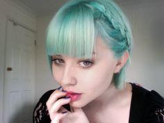 AH, ice blue hair Chic Short Hair, Short Hair Styles, Braided Hairstyles, Cool Hairstyles, My Little Pony Hair, Pelo Multicolor, Mint Hair, White Hair, Neon Hair