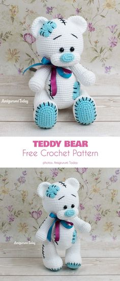 Here are some lovely, modern bears with amazing decorations and fun accessories. Crochet Easter, Bunny Crochet, Crochet Gratis, Free Crochet, Crochet Teddy Bear Pattern Free, Crochet Baby Toys, Teddy Bear Patterns Free, Easter Crochet Patterns, Crochet Patterns Amigurumi