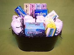 Over-the-Hill gift basket~ could make...ingredients could include adult diapers and over-the-hill gag gifts such as pill sorters, bengay, denture items, medicines, magnifying glass or reading glasses, vitamins such as Centrum Silver etc