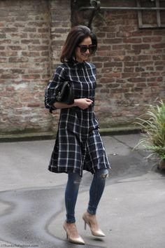 This particular shirt dress has two side slits and can actually not be worn without anything underneath. So for this outfit I opted for pair of destroyed skinny jeans, but I would also love this lo…