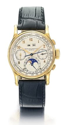 Patek Philippe YELLOW GOLD PERPETUAL CALENDAR CHRONOGRAPH WRISTWATCH WITH MOON PHASES REF 1518 MVT 863684 CASE 641830 CIRCA 1950