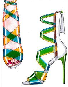 Fashion Design Drawings, Fashion Sketches, Drawing High Heels, Fashion Illustration Shoes, Fashion Art, Fashion Shoes, Shoe Sketches, Shoe Art, Shoe Collection
