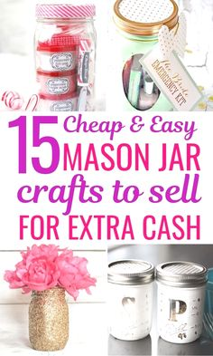 15 Mason jar crafts for kids to sell. These best selling mason jar crafts will be a hit at craft fairs or flea markets. Find out these awesome and unique ideas for easy DIY mason jar projects to sell and start making extra money today! #diy #diyhomedecor #masonjars