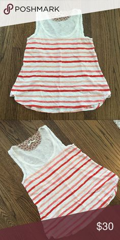 Anthropologie (Pure + Good) Striped Tank Pure + Good striped tank top - sold at Anthropologie.  Very good condition- worn and washed (line dried) a couple times.  Pit to pit measures 16 inches; length is 24 inches in back & 22.5 inches in front.  Comes from a smoke free home! Anthropologie Tops Tank Tops