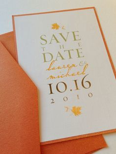 Fall Wedding Save the Date.   via Etsy.